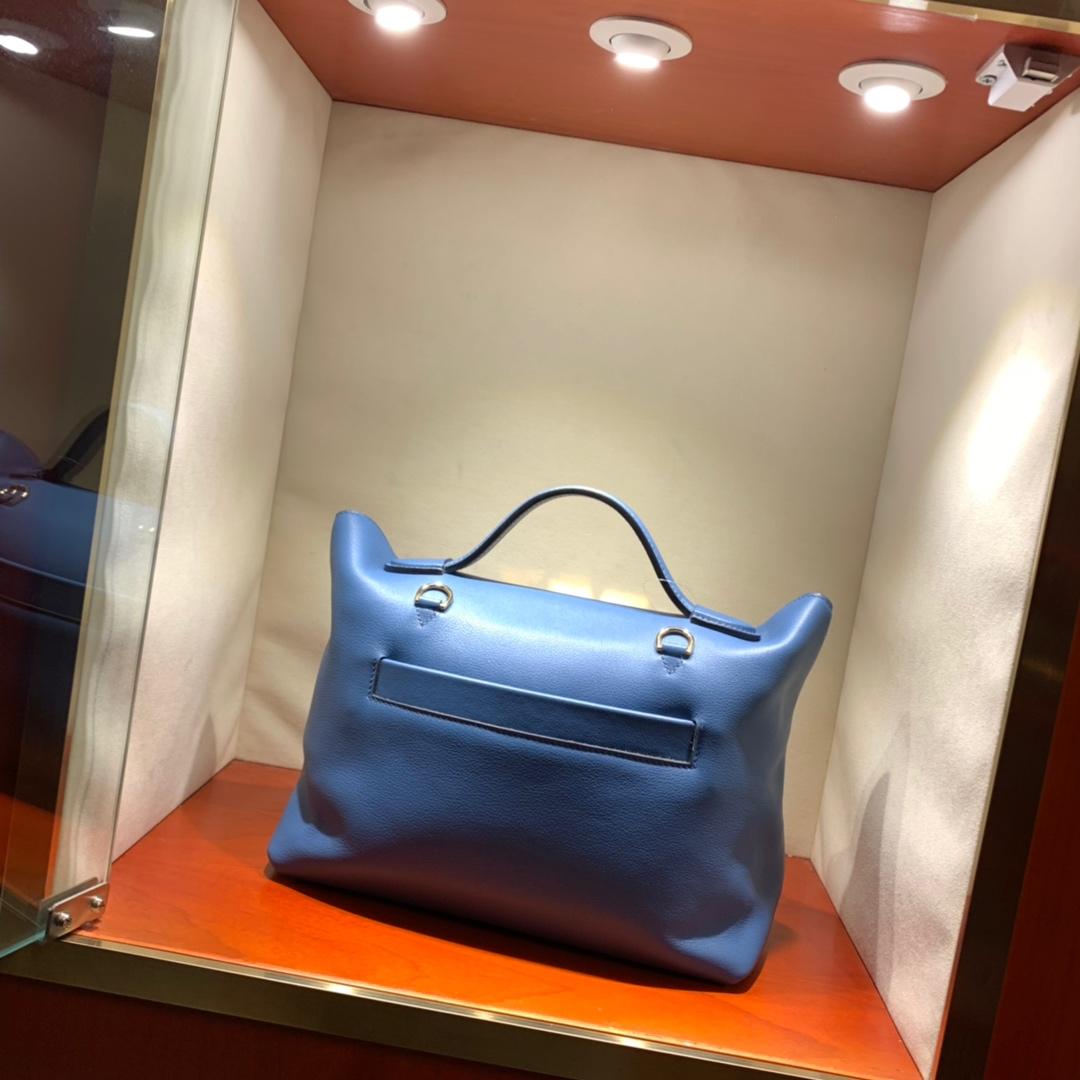 爱马仕包包批发 24-24Kelly 29cm 法国顶级Swift R2 Blue Agate 玛瑙蓝 金扣 顶尖工艺 手缝蜜蜡线缝制