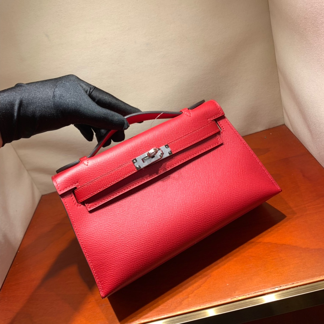 爱马仕包包批发 Kelly Pochette 22cm 法国顶级Epsom Q5 Rouge Casaqbe 中国红 金银扣 顶尖工艺