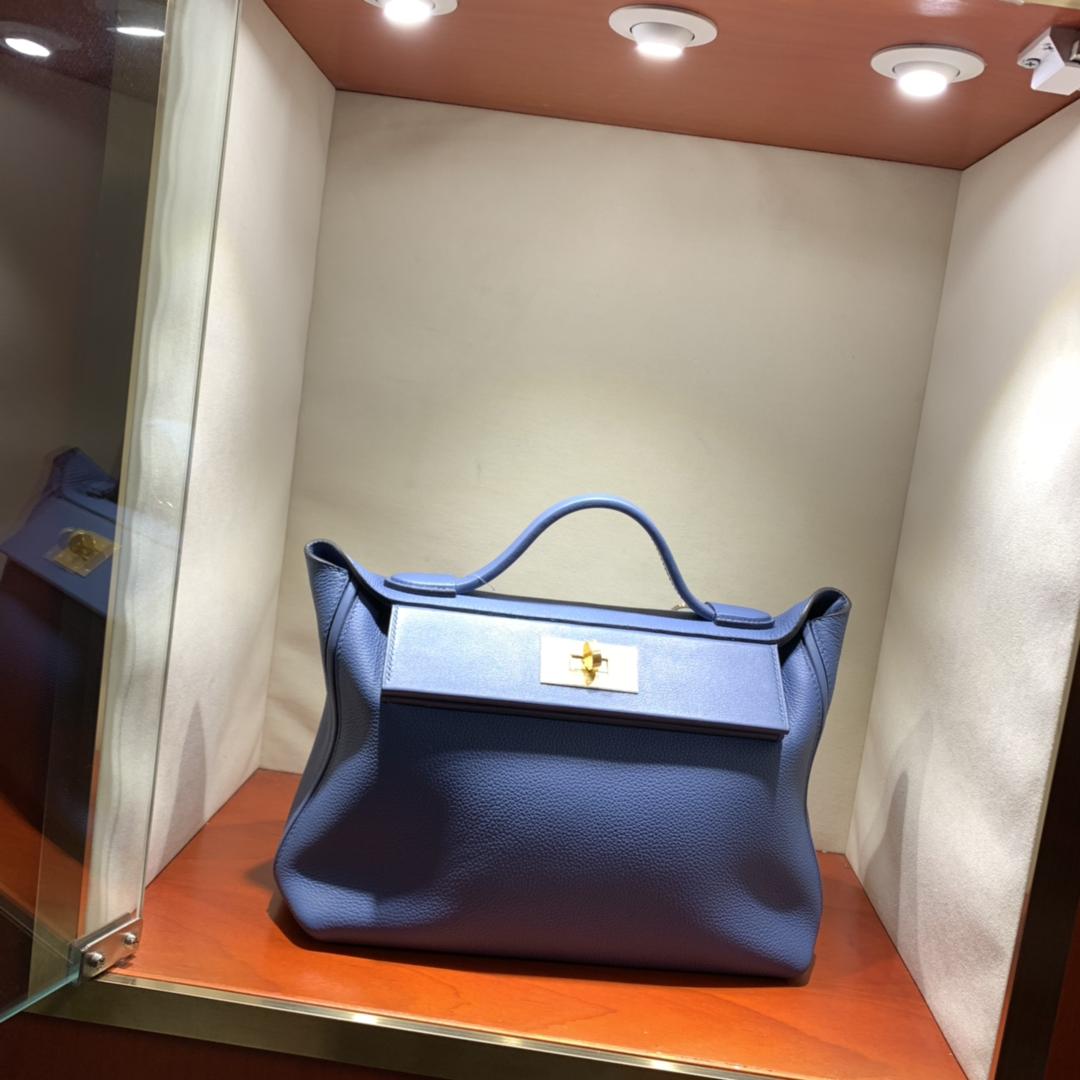 爱马仕包包批发 24-24Kelly 29cm 法国顶级Togo R2 Blue Agate 玛瑙蓝 金扣 顶尖工艺 手缝蜜蜡线缝制