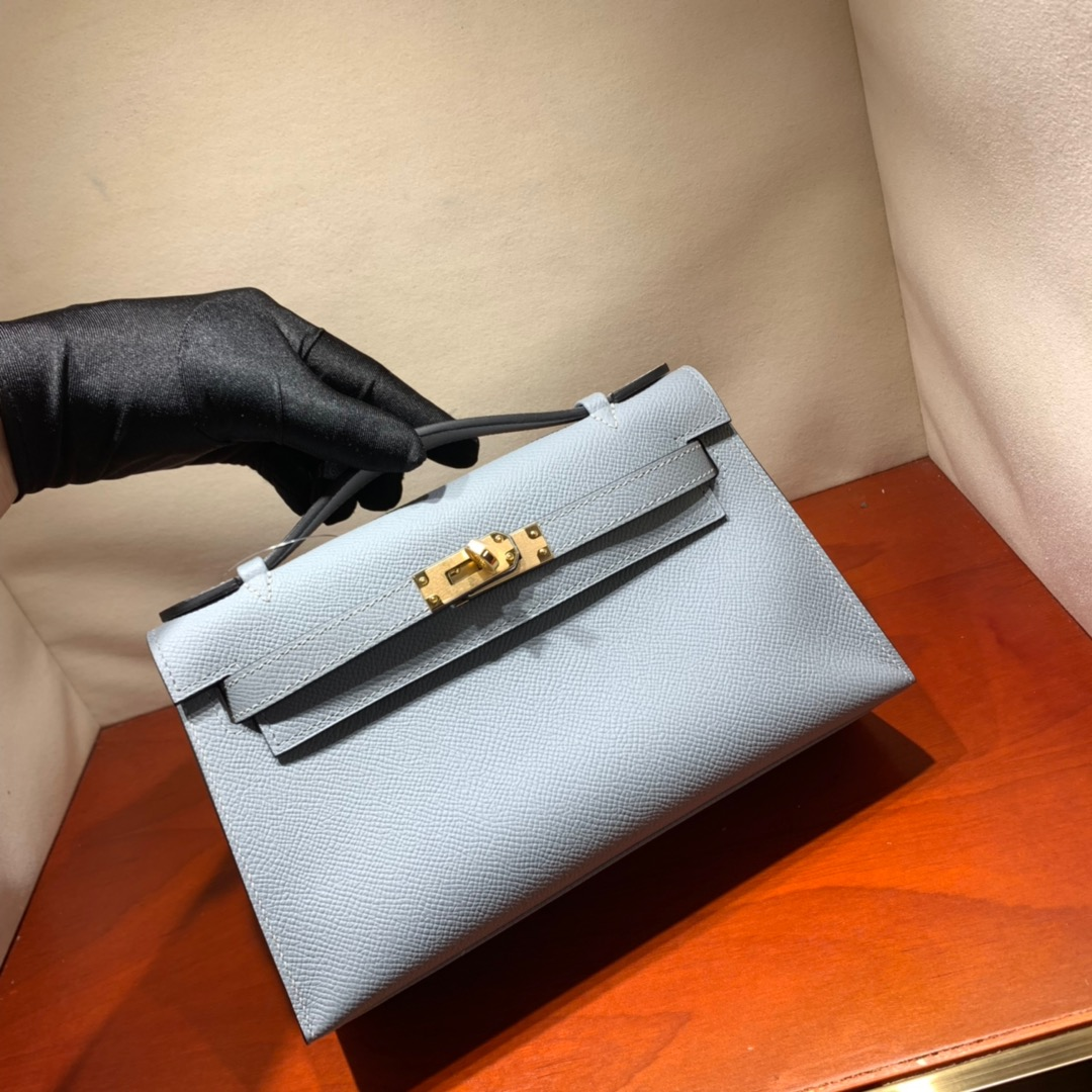 爱马仕包包批发 Kelly Pochette 22cm 法国顶级Epsom 8U Glacierw 冰川蓝 金银扣 顶尖工艺