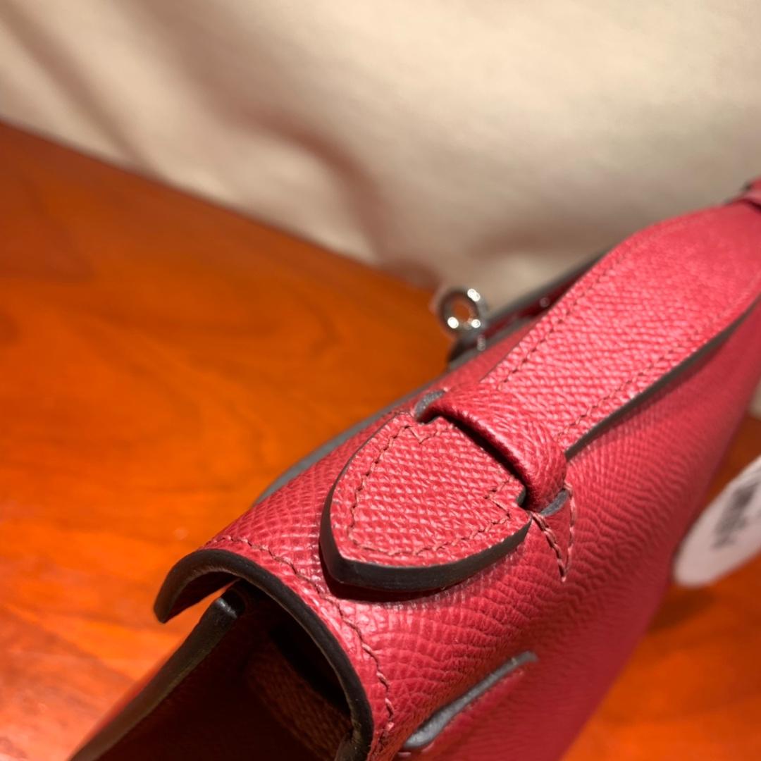 爱马仕包包批发 Kelly Pochette 22cm 法国顶级Epsom K1 Rouge Grenat 石榴红 银扣 顶尖工艺