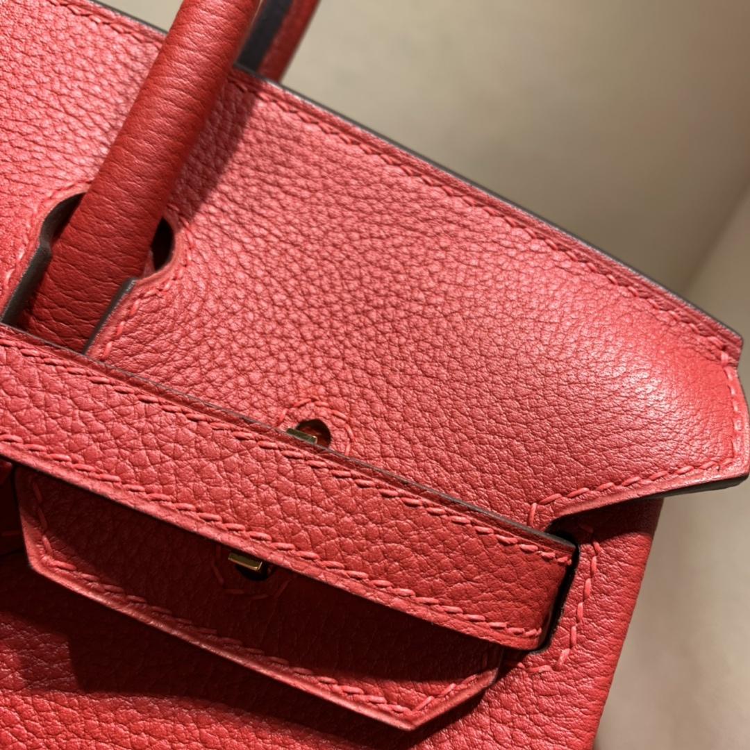 爱马仕铂金包 Birkin 25cm Togo Q5中国红 金扣 蜜蜡线全手缝