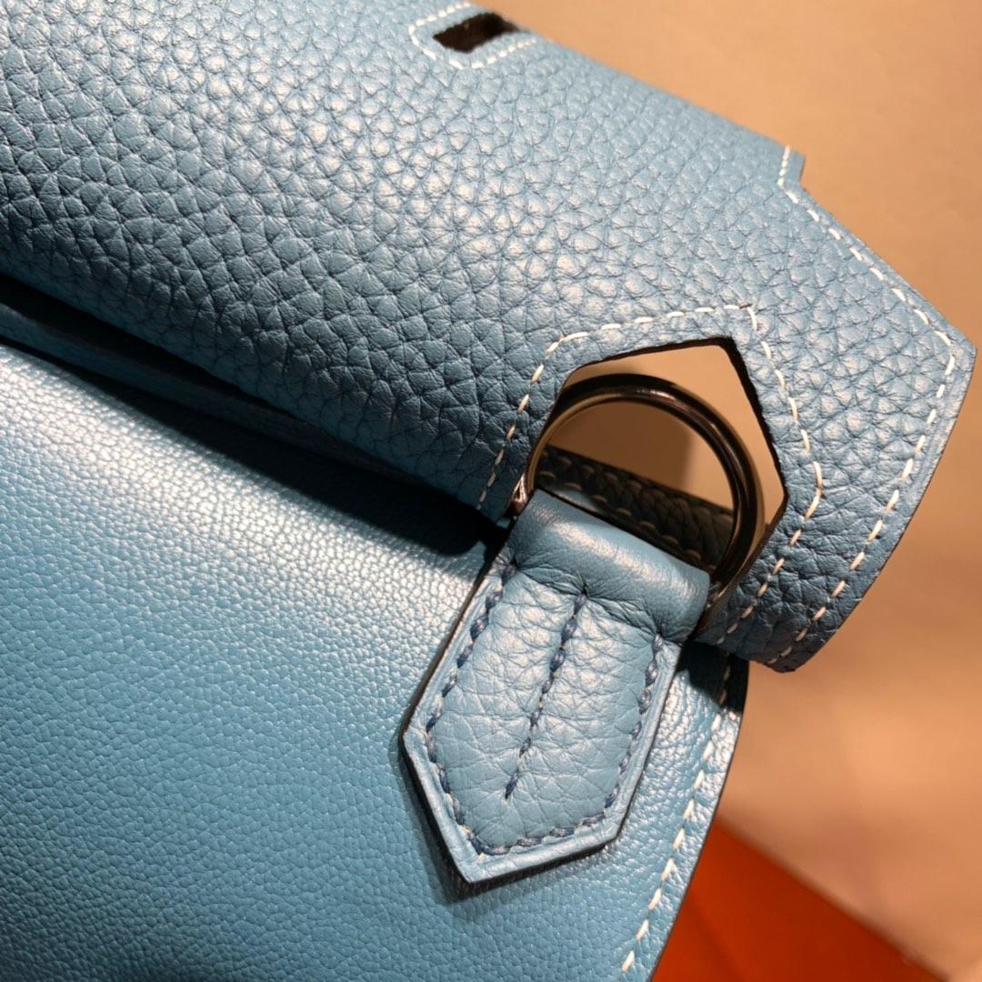 爱马仕包包 Jypsiere 28cm Clemence 75牛仔蓝 银扣 手缝蜜蜡线