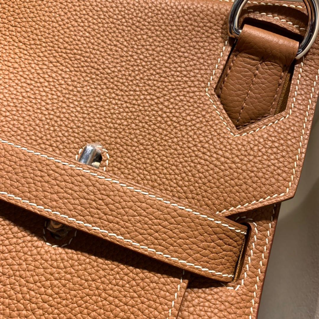 爱马仕包包 Jypsiere 34cm Clemence 37金棕 银扣 手缝蜜蜡线
