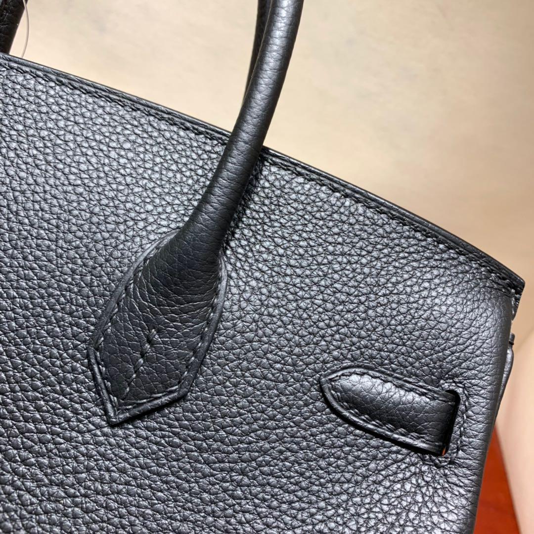 爱马仕铂金包 Birkin 25cm Togo 89黑色 金-银扣 蜜蜡线全手缝