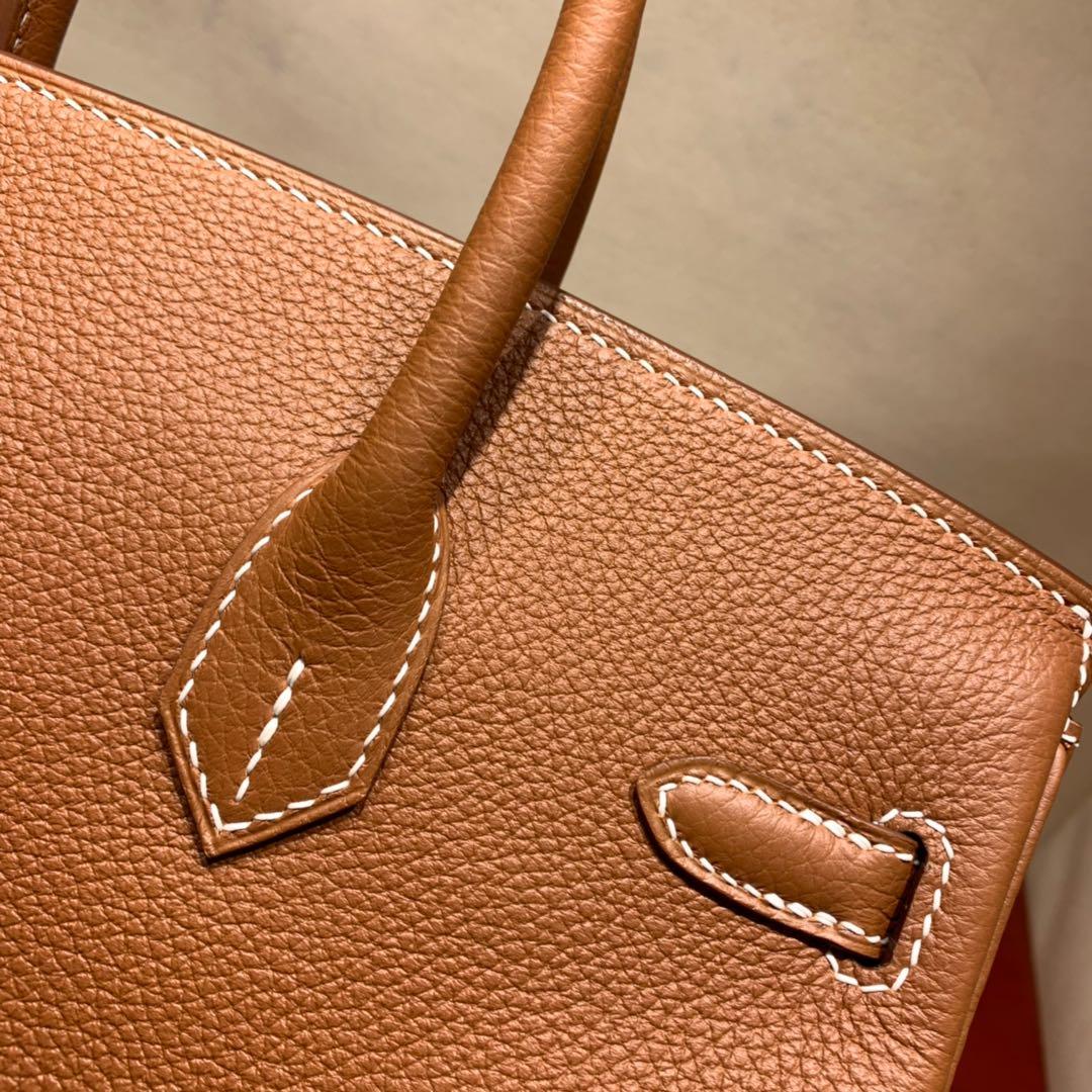 爱马仕铂金包 Birkin 25cm Togo 37金棕 金-银扣 蜜蜡线全手缝