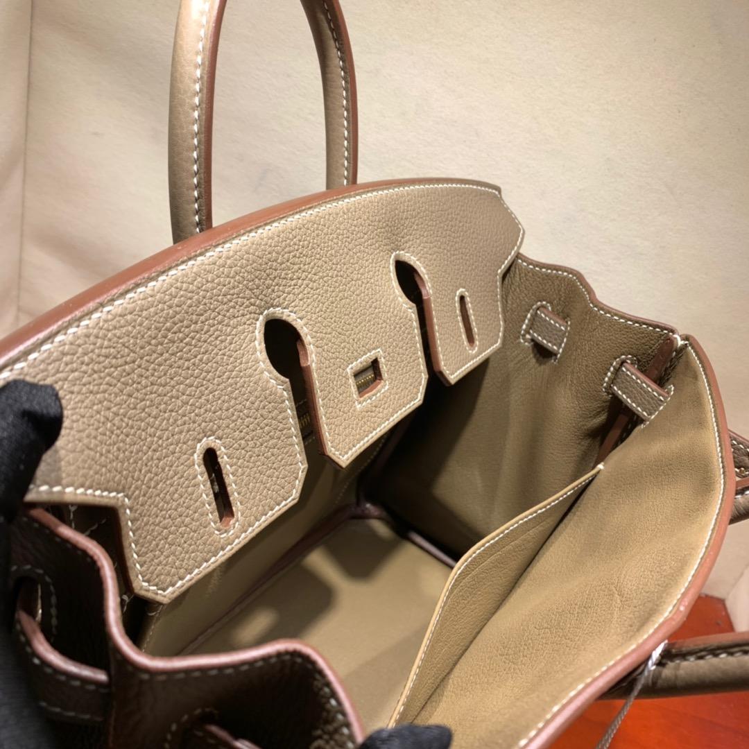 爱马仕铂金包 Birkin 25cm Togo 18大象灰 金-银扣 蜜蜡线全手缝