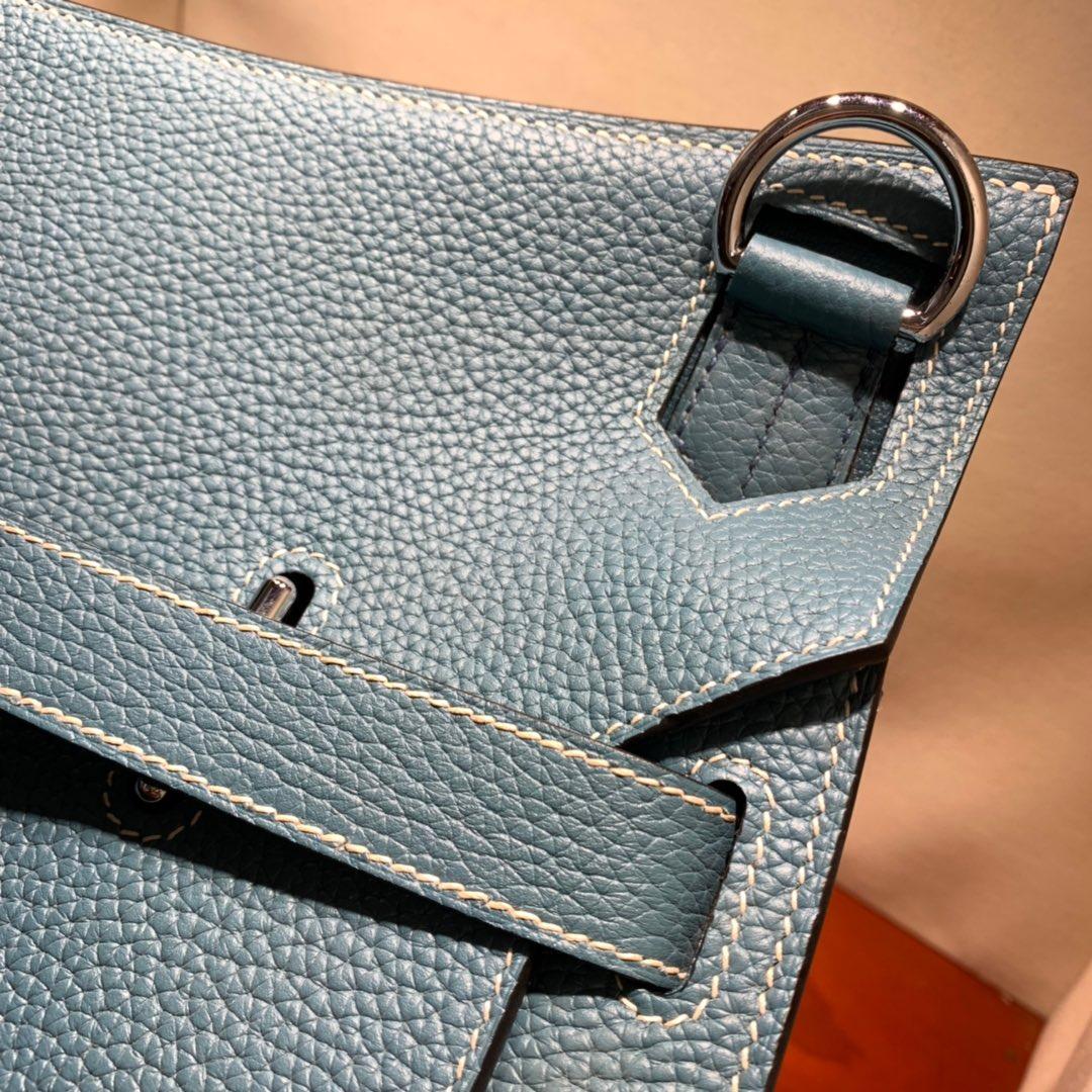 爱马仕包包 Jypsiere 34cm Clemence 75牛仔蓝 银扣 手缝蜜蜡线