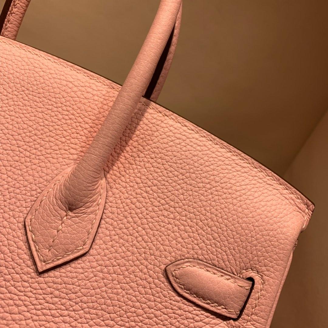 爱马仕铂金包 Birkin 25cm Togo 3Q芭比粉 银扣 蜜蜡线全手缝