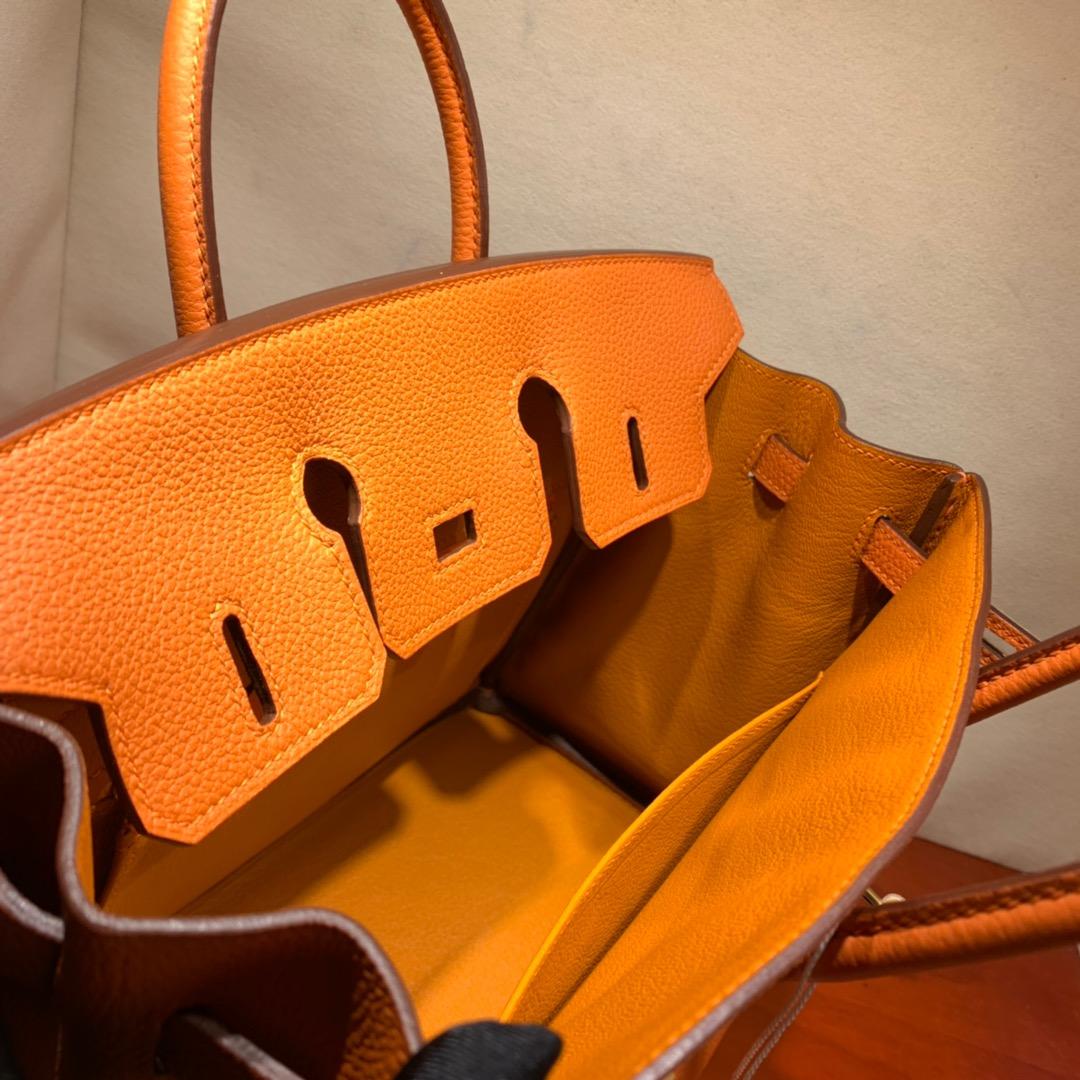 爱马仕铂金包 Birkin 25cm Togo 93橙色 金-银扣 蜜蜡线全手缝