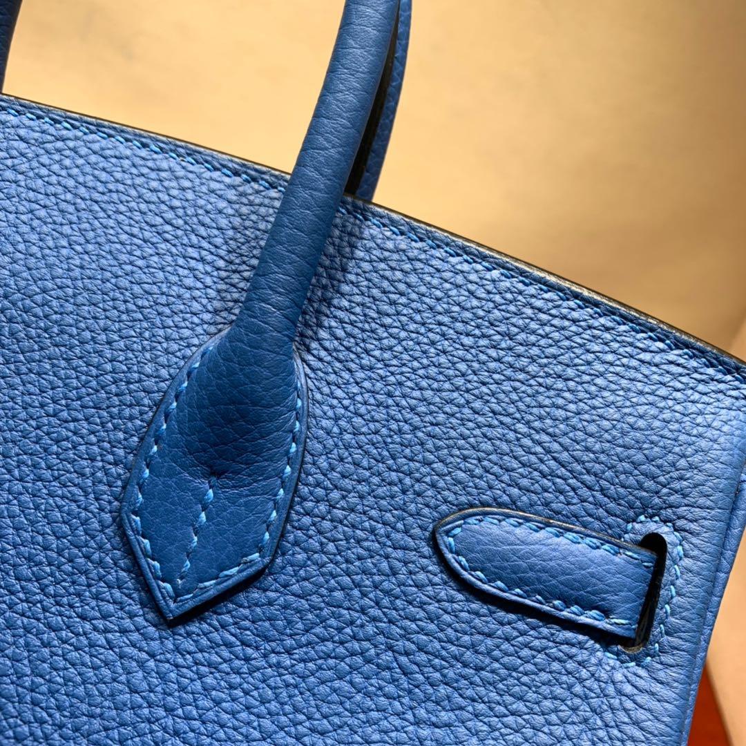 爱马仕铂金包 Birkin 25cm Togo T7水妖蓝 银扣 蜜蜡线全手缝