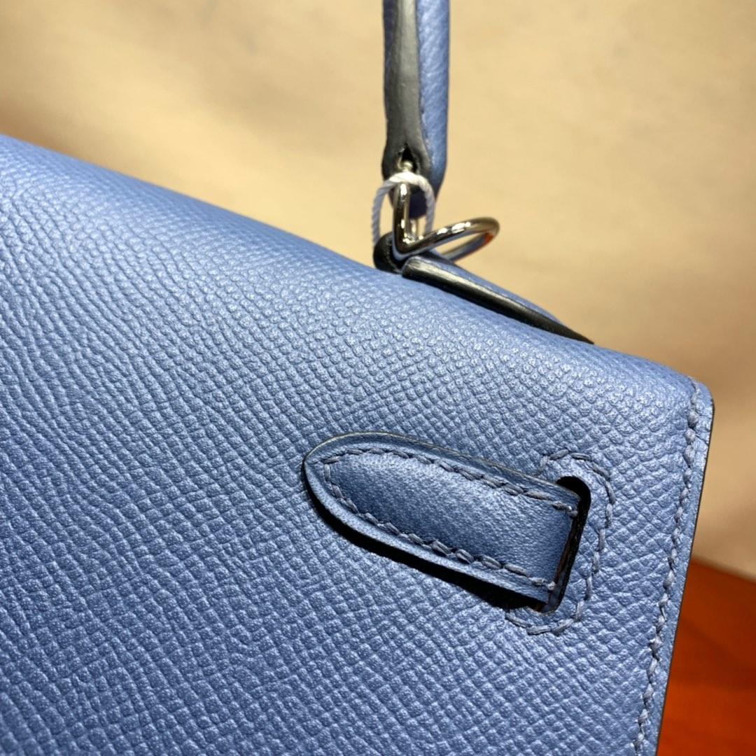 爱马仕包包爆款 Kelly 25cm Epsom R2玛瑙蓝 银扣 蜜蜡线手缝