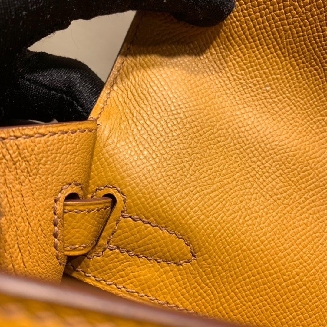 爱马仕包包爆款 Kelly 25cm Epsom 1H太妃糖 银扣 蜜蜡线手缝