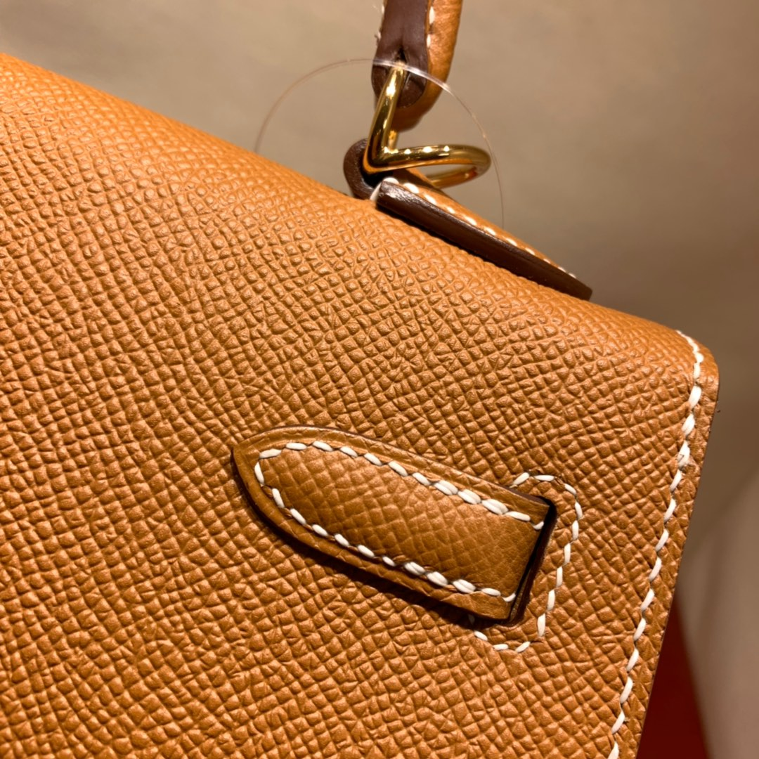 爱马仕包包爆款 Kelly 25cm Epsom 37金棕 金-银扣 蜜蜡线手缝