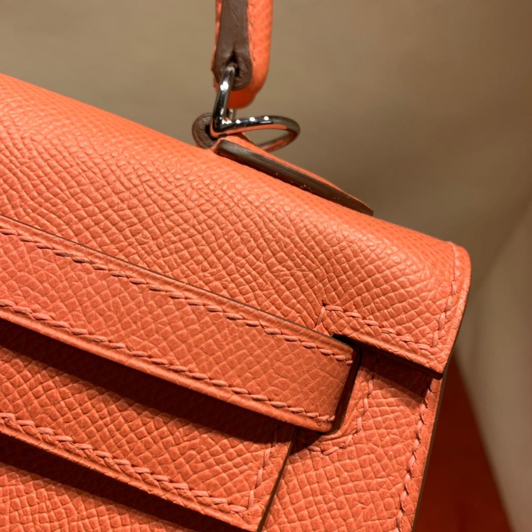 爱马仕包包爆款 Kelly 25cm Epsom L5龙虾粉 银扣 蜜蜡线手缝