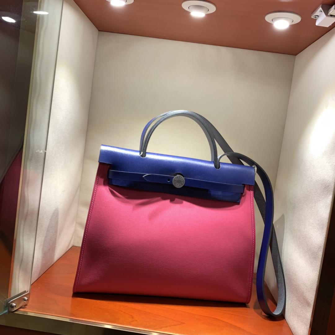 爱马仕包包批发 Herbag 31cm Magnolia/Blue Saphir 手缝蜡线顶级工艺