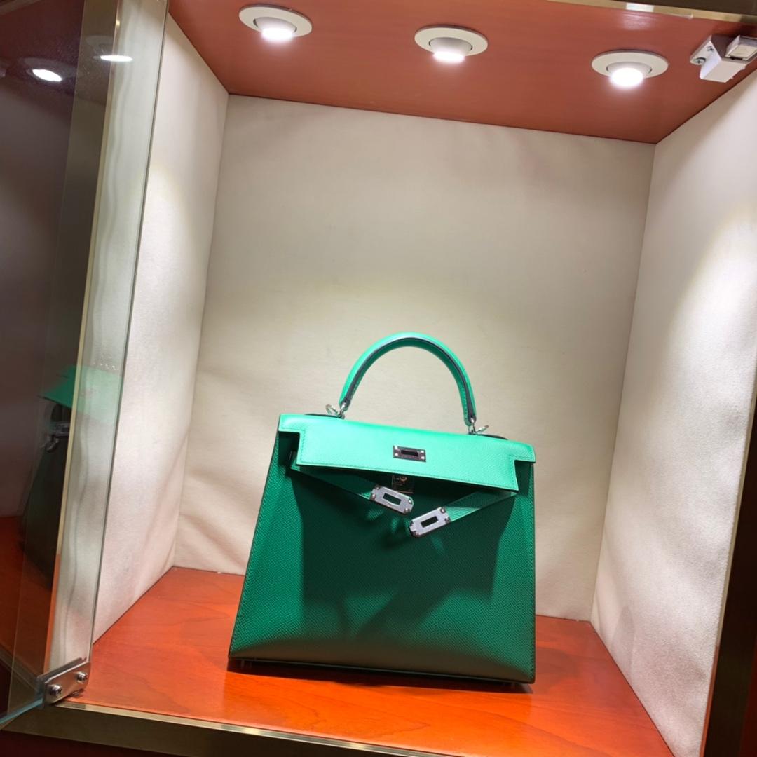 爱马仕包包爆款 Kelly 25cm Epsom 1K竹子绿 银扣 蜜蜡线手缝