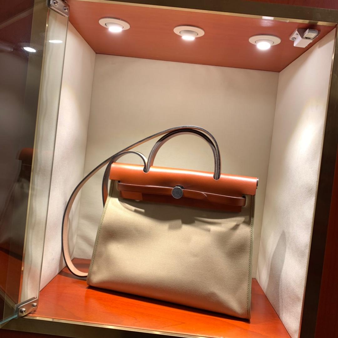 爱马仕包包批发 Herbag 31cm Trench/Natuer 手缝蜡线顶级工艺