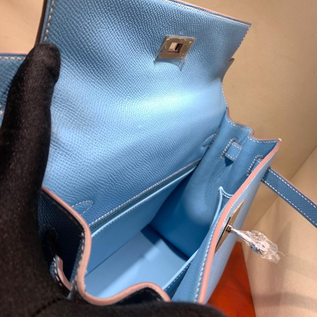 爱马仕凯莉包 Kelly28cm Epsom 7N糖果蓝 银扣 蜜蜡线手缝