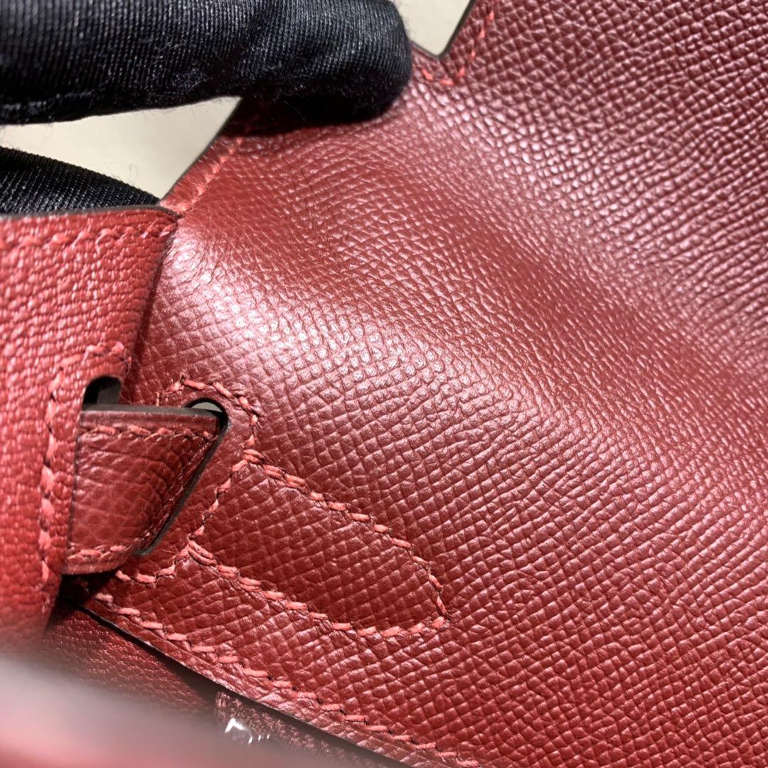 爱马仕凯莉包 Kelly28cm Epsom 57波尔多酒红 银扣 蜜蜡线手缝