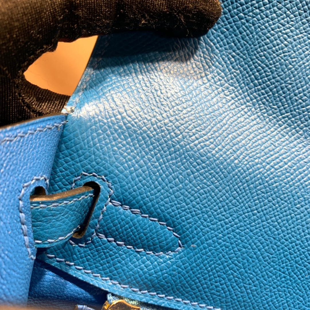 爱马仕包包爆款 Kelly 25cm Epsom B3坦桑利亚蓝 金扣 蜜蜡线手缝