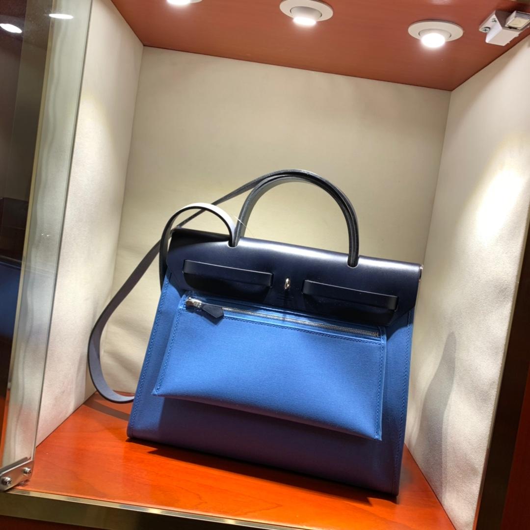 爱马仕包包批发 Herbag 31cm Blue Paradis/Blue Nurt 手缝蜡线顶级工艺