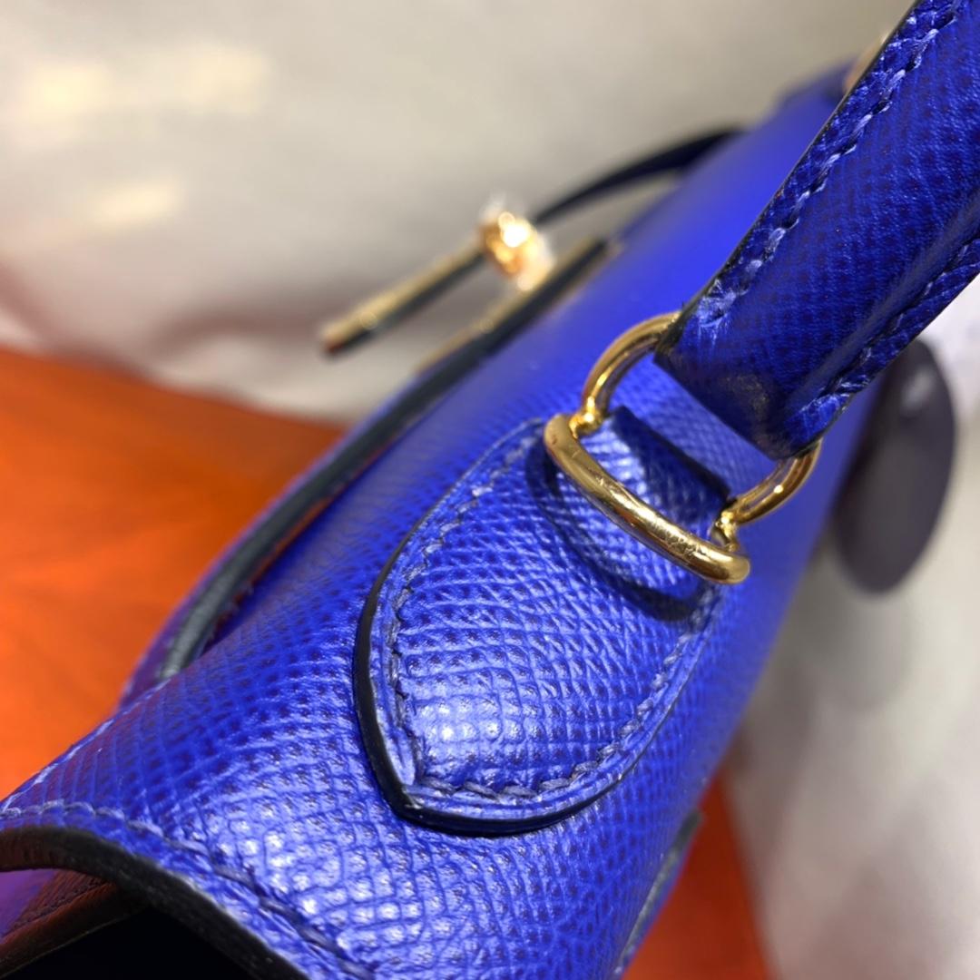 爱马仕凯莉包 Kelly28cm Epsom I7琉璃蓝 金-银扣 蜜蜡线手缝
