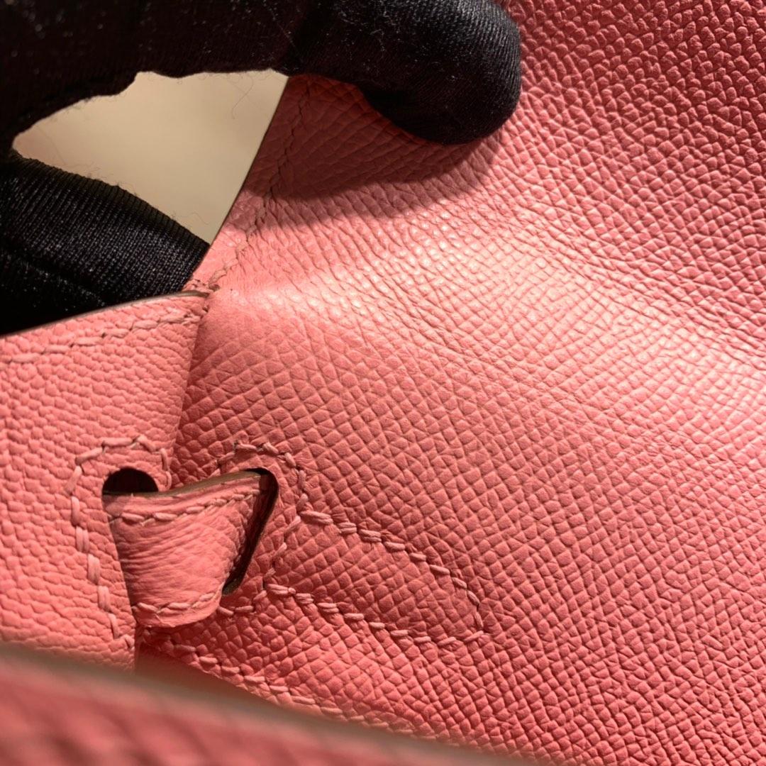 爱马仕包包爆款 Kelly 25cm Epsom 1Q奶昔粉 银扣 蜜蜡线手缝