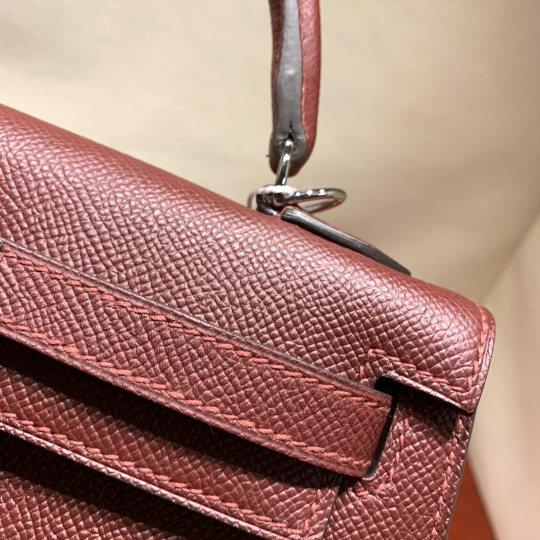 爱马仕包包爆款 Kelly 25cm Epsom 55爱马仕红 银扣 蜜蜡线手缝