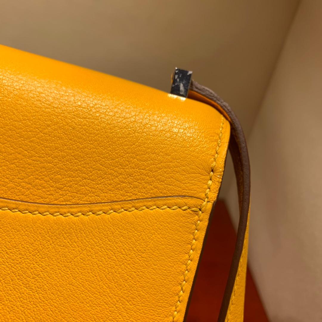 爱马仕包包批发 2002 20cm Evercolor 9V太阳黄 银扣 蜜蜡线全手缝