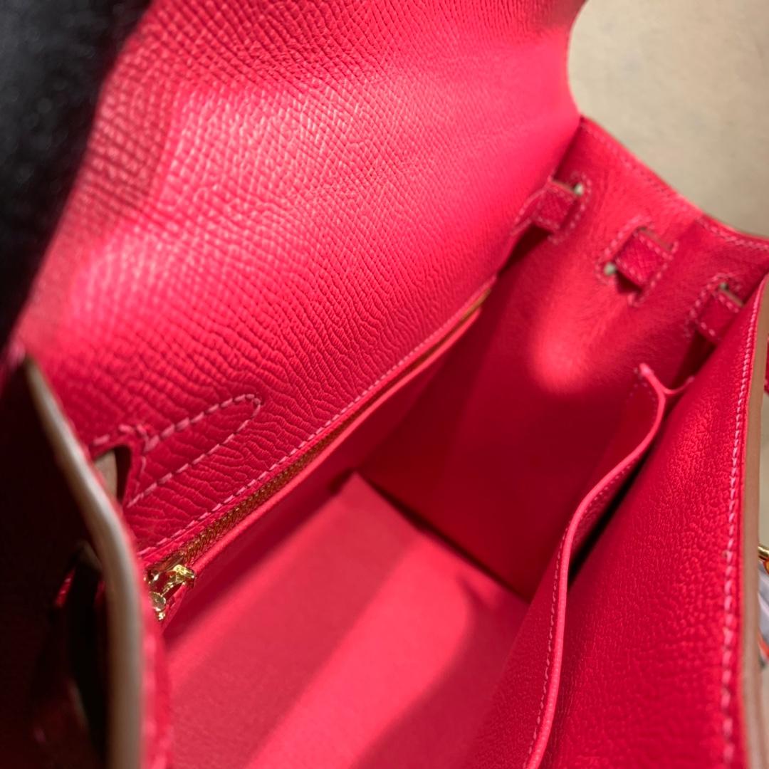 爱马仕包包爆款 Kelly 25cm Epsom I6极致粉 金-银扣 蜜蜡线手缝