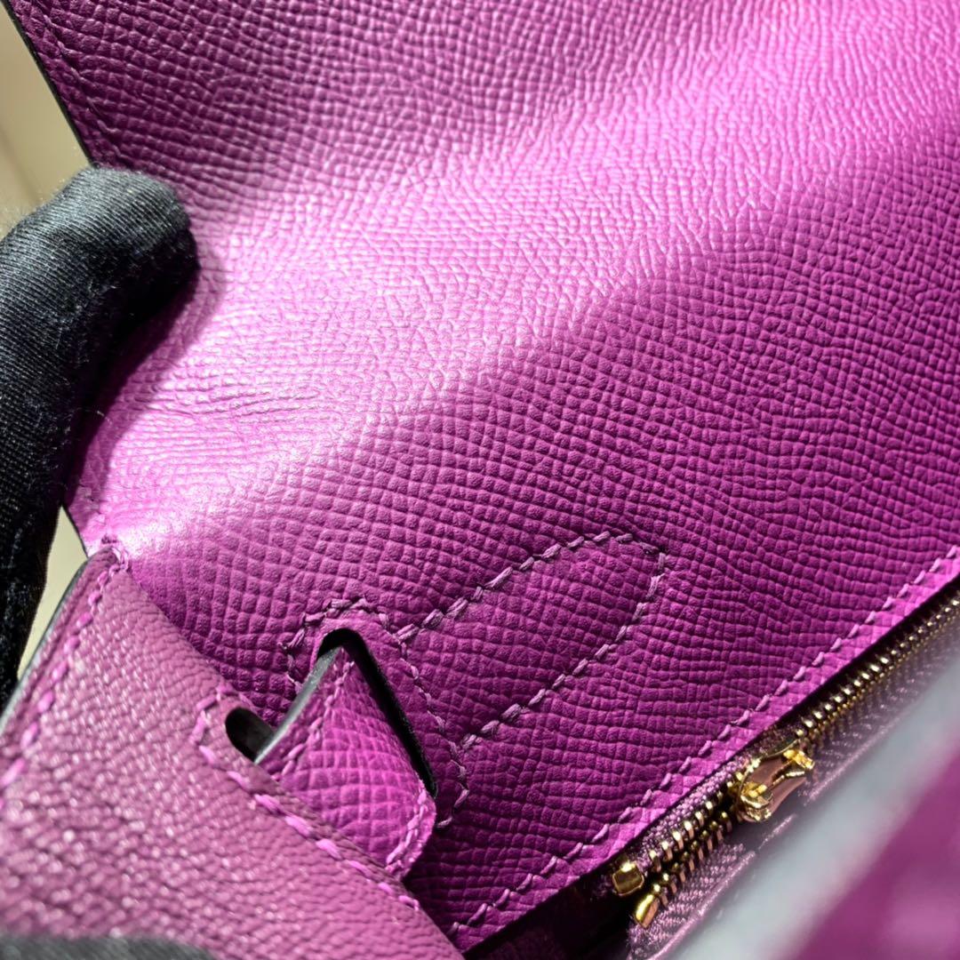爱马仕凯莉包 Kelly28cm Epsom P9海葵紫 金-银扣 蜜蜡线手缝