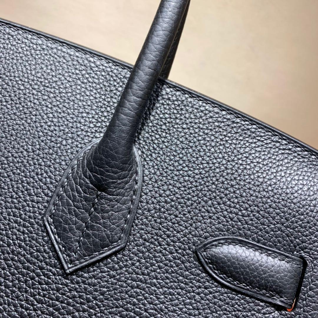 爱马仕铂金包 Birkin 30cm Togo 89黑色 金-银扣 蜜蜡全手缝