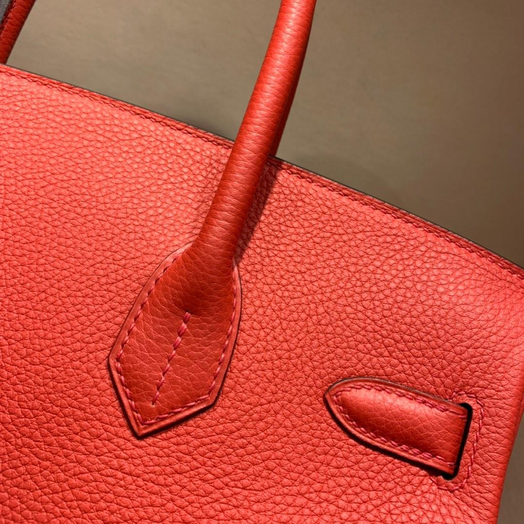 爱马仕铂金包 Birkin 30cm Togo S5番茄红 银扣 蜜蜡全手缝