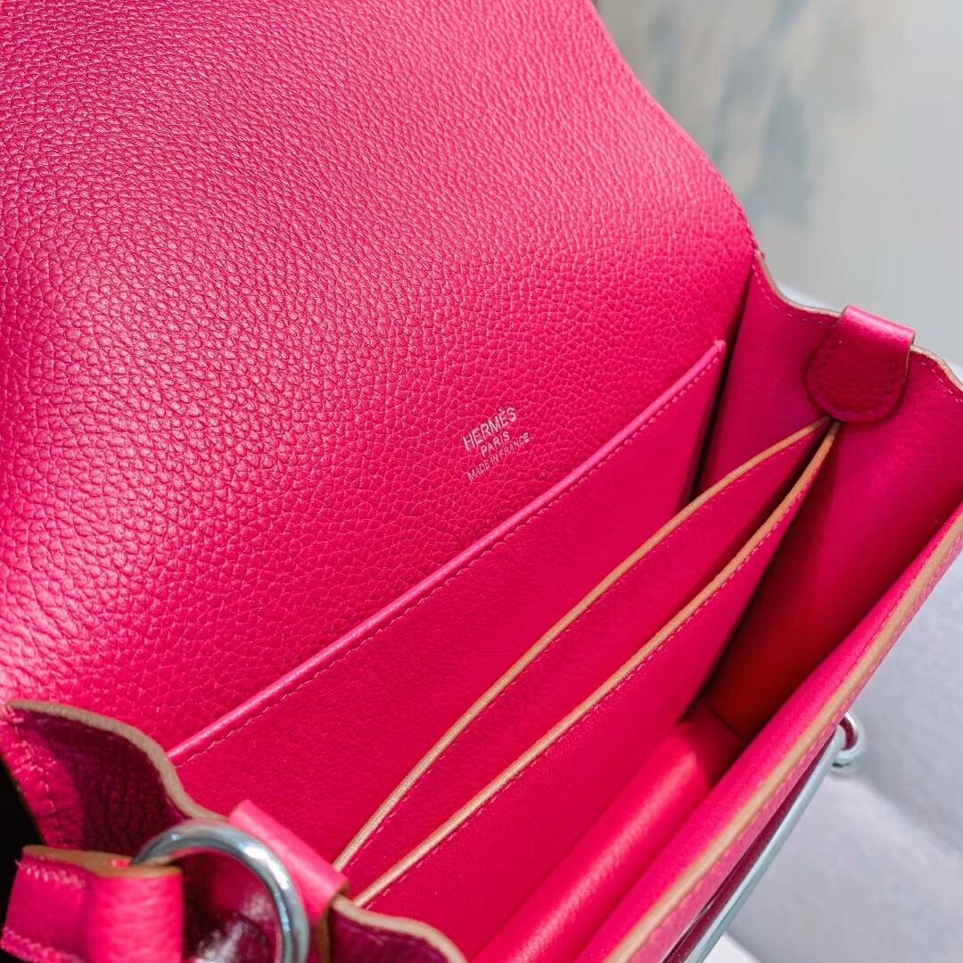 Hermes包包 Roulis 19cm Clemence K5托斯卡紫 银扣 蜜蜡线手缝