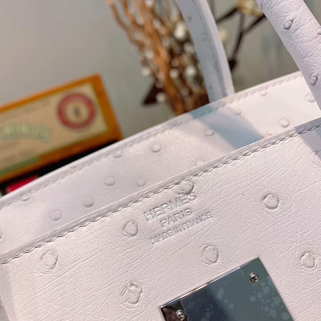 爱马仕铂金包 Birkin 30cm Ostrich 南非KK鸵鸟 01纯白 银扣 蜜蜡线全手缝