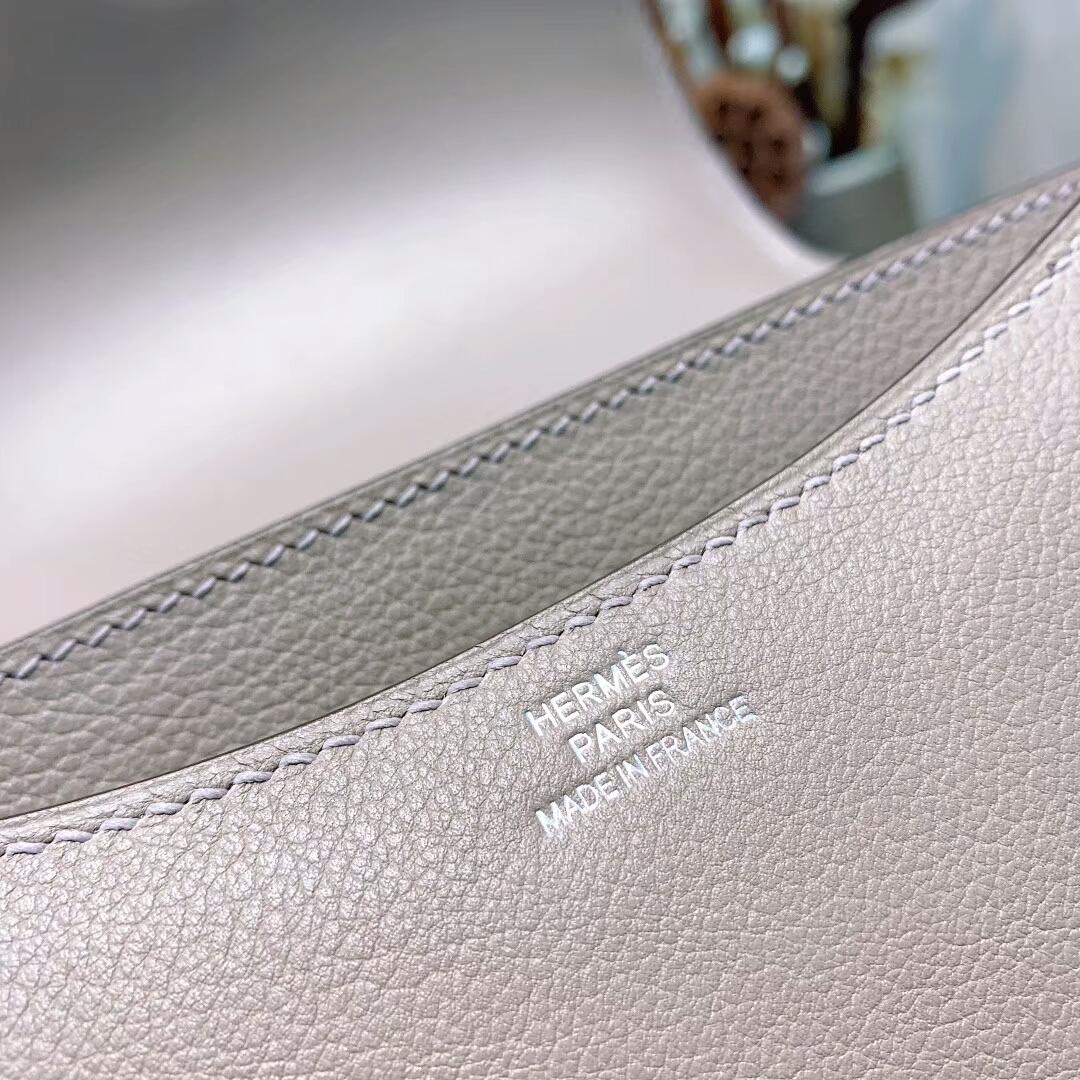 爱马仕空姐包 Constance19cmEvercolorM8沥青灰 金-银扣手缝蜜蜡线