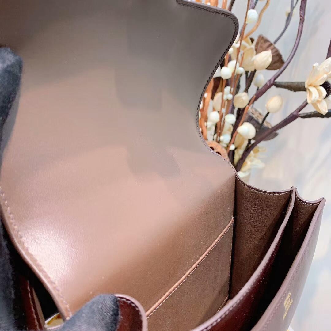 爱马仕空姐包 Constance19cmEvercolor47巧克力啡 金扣手缝蜜蜡线