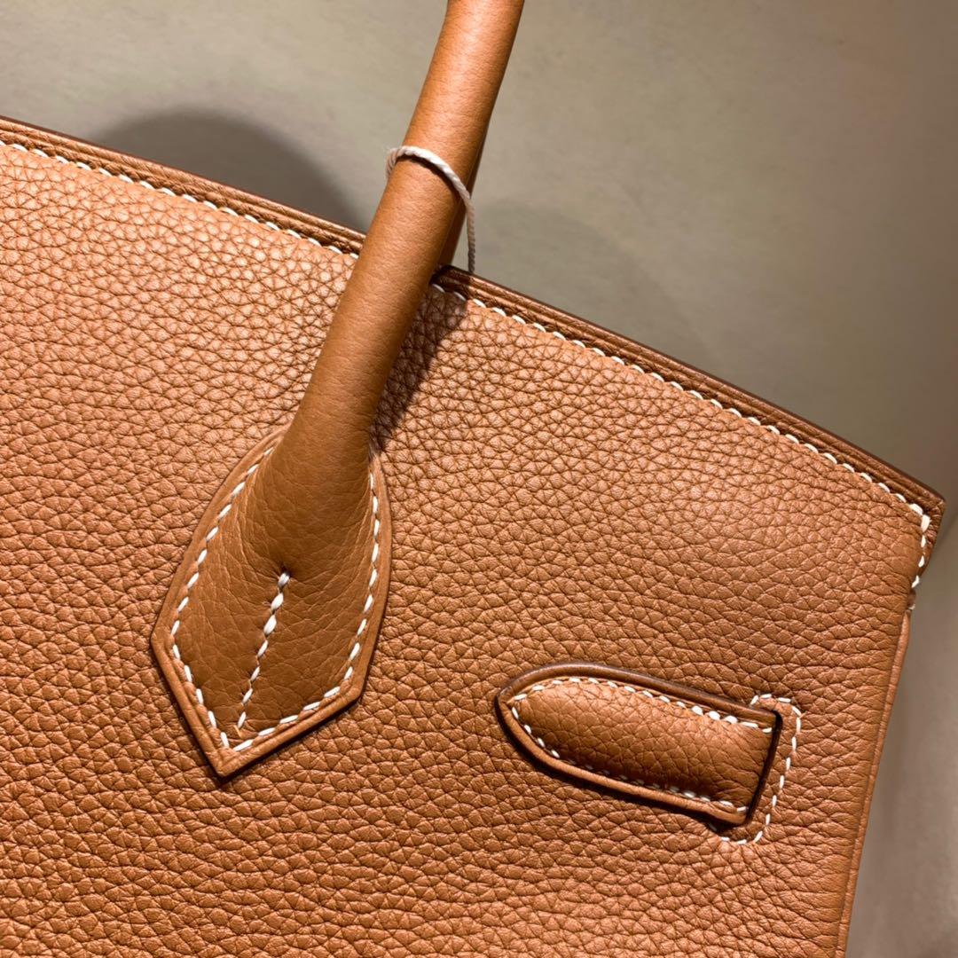 爱马仕铂金包 Birkin 30cm Togo 37金棕 金-银扣 蜜蜡全手缝