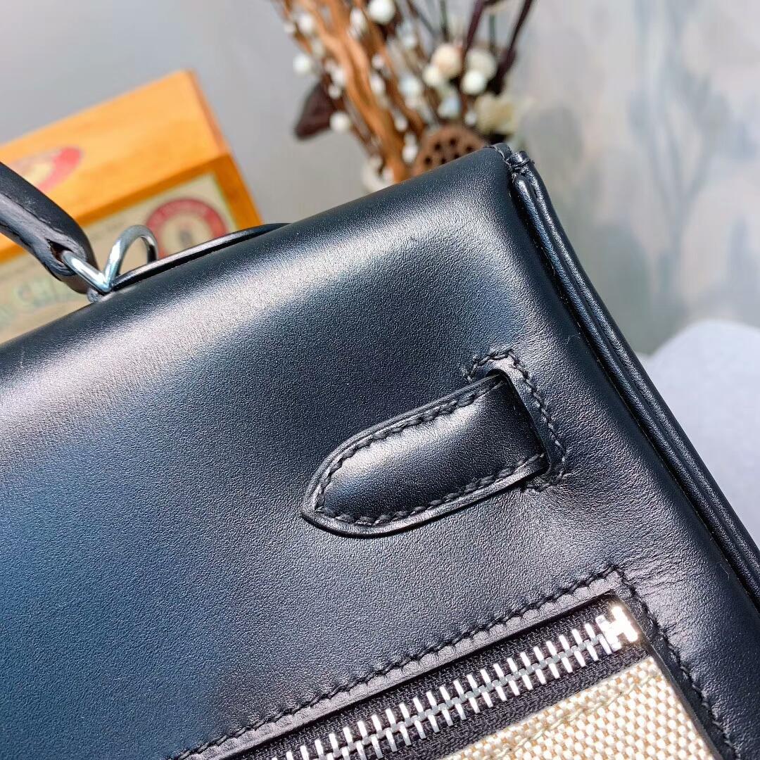 爱马仕包包批发 Kelly Lakis 35cm Box拼帆布 89黑色 银扣