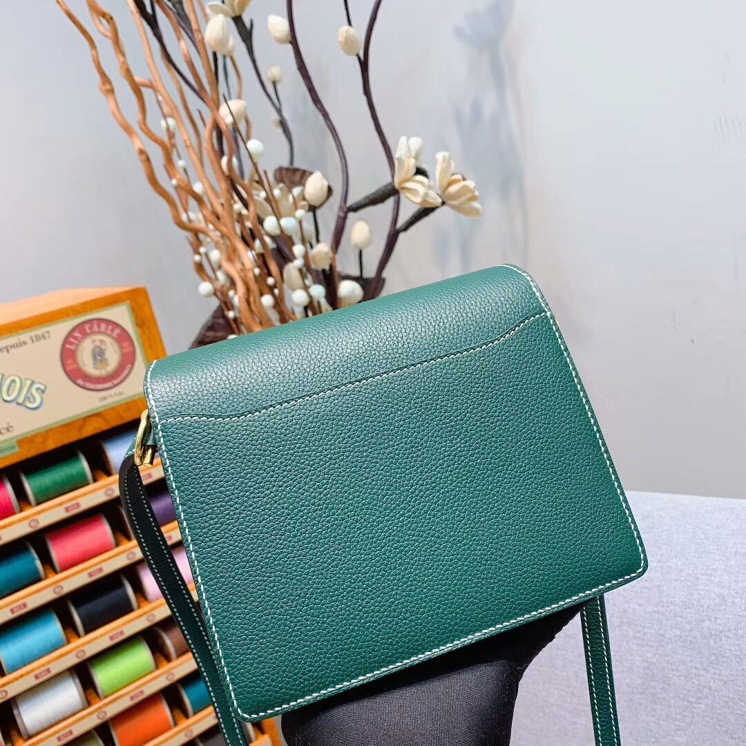 Hermes包包 Roulis 19cm Clemence 2Q英国绿 金扣 蜜蜡线手缝