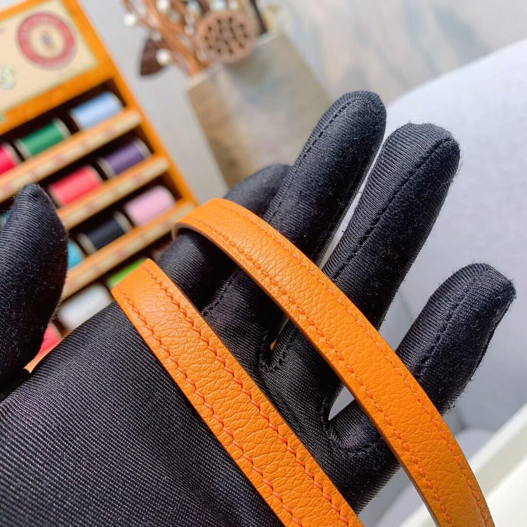 爱马仕空姐包 Constance19cmEvercolorI9杏黄色金扣手缝蜜蜡线