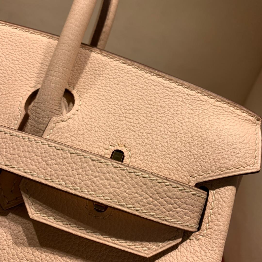 爱马仕铂金包 Birkin 30cm Togo P1蔷薇粉 金-银扣 蜜蜡全手缝