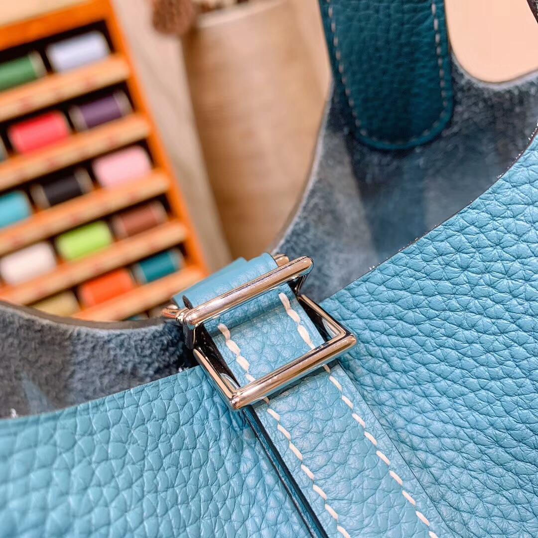 爱马仕菜篮子 Picotin Lock 18cm Clemence 75牛仔蓝 银扣 蜜蜡线手缝