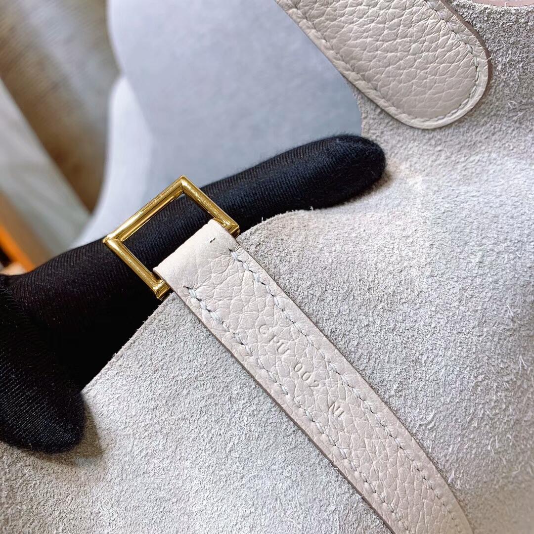 爱马仕菜篮子 Picotin Lock 18cm Clemence8L冰川白 金-银扣 蜜蜡线手缝