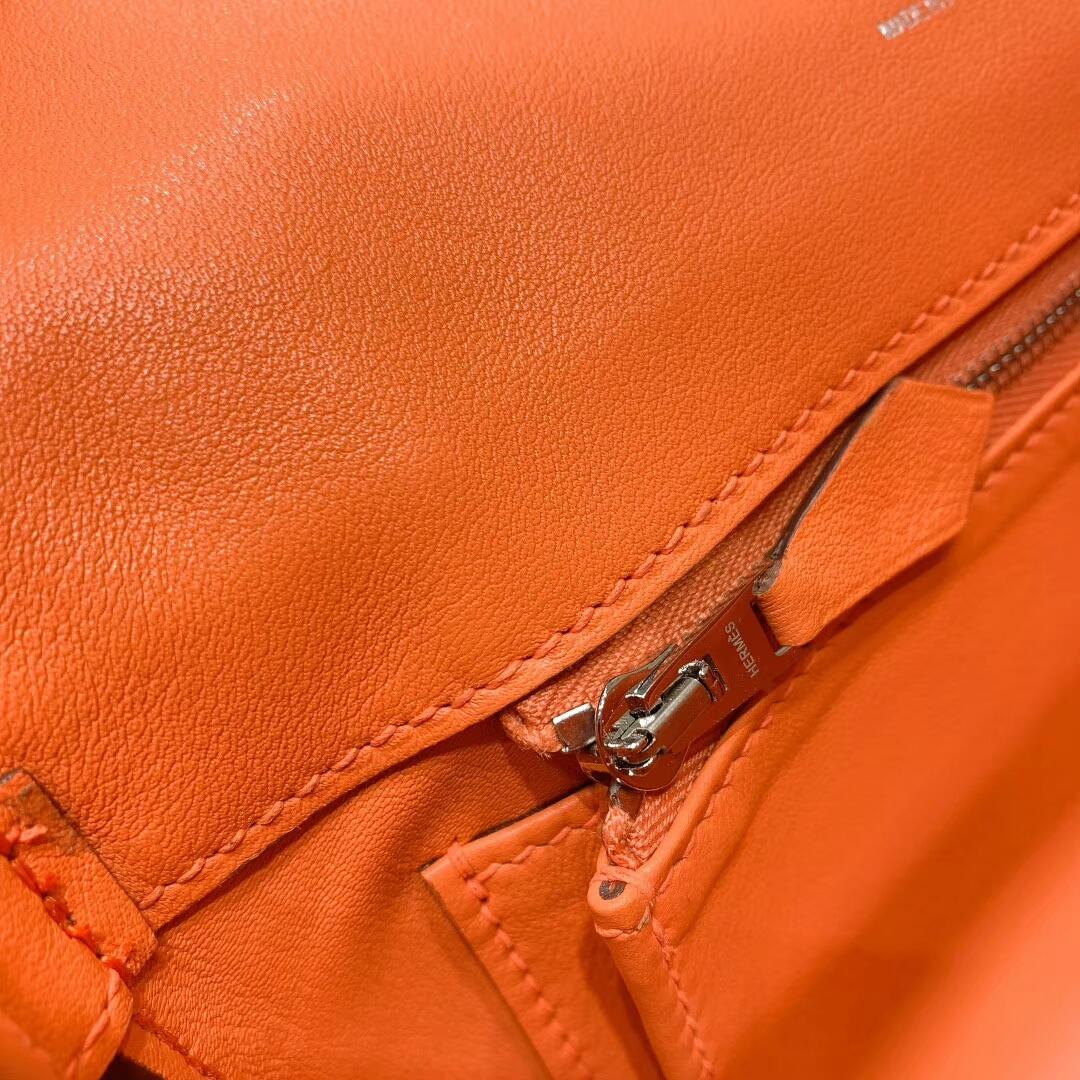 爱马仕包包批发 Berline 20cm Swift L5龙虾粉 银扣 蜜蜡线手缝