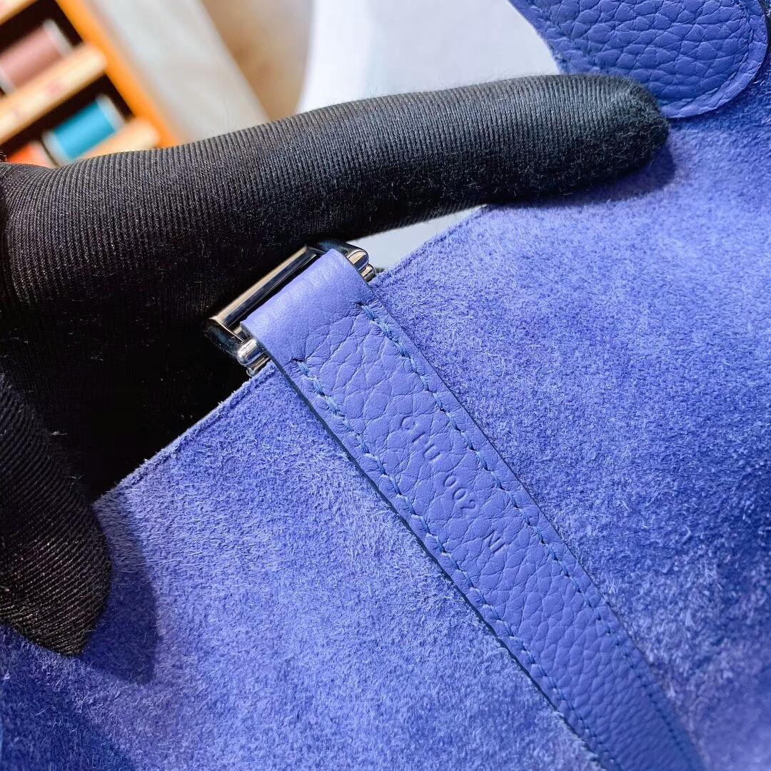 爱马仕菜篮子 Picotin Lock 18cm Clemence 7E明蓝 金-银扣 蜜蜡线手缝
