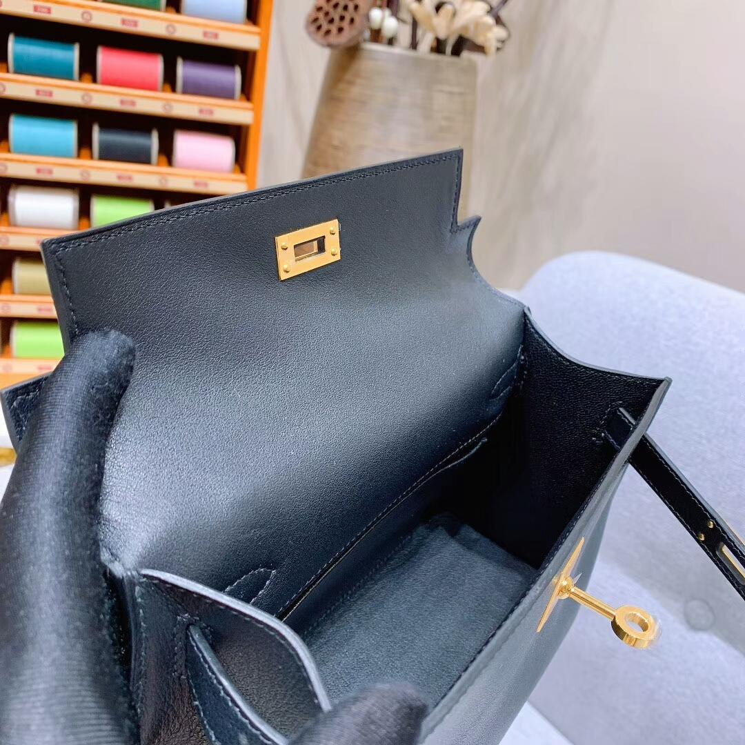 爱马仕包包 Mini Kelly Swift 89黑色 金扣 蜜蜡线手缝