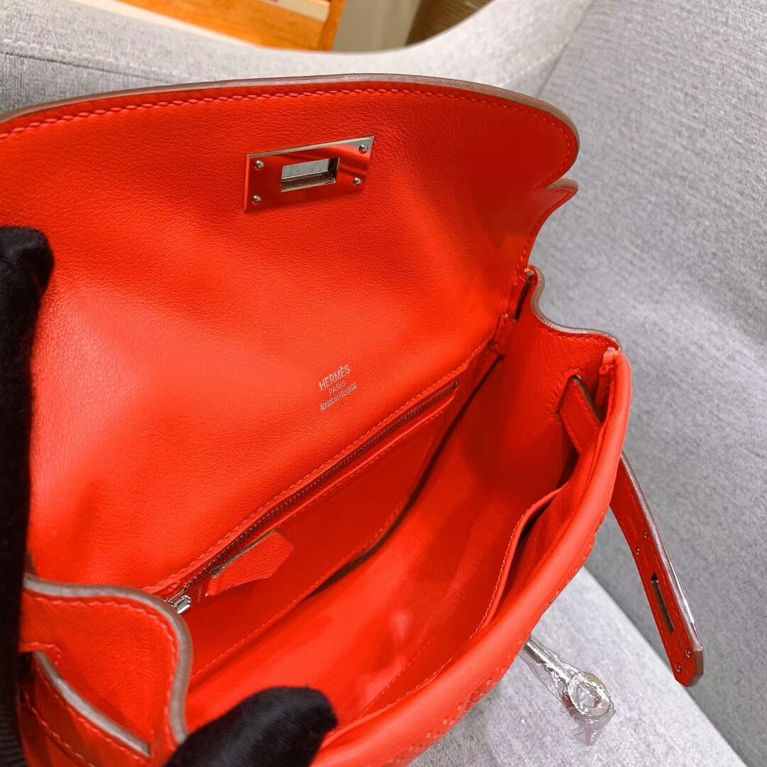 爱马仕包包批发 Berline 20cm Swift S5番茄红 银扣 蜜蜡线手缝