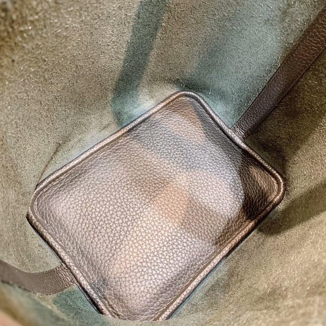 爱马仕菜篮子 Picotin Lock 18cm Clemence 89黑色 金-银扣 蜜蜡线手缝